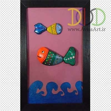 Picture of Sea Fishes Stone Painting Tableau